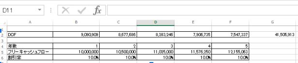 1~5年目のDCF算出