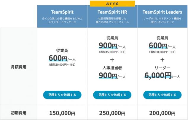 チームスピリット価格表