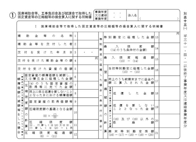 法人税申告書別表13(1)